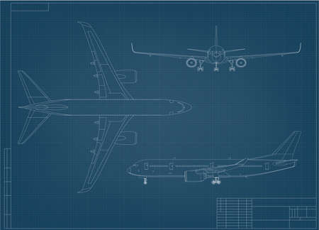 Airplane Blueprint. White Outline Aircraft On Blue