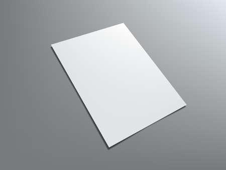 Blank Portrait A4 White Paper Isolated On Gray Vektorgrafik