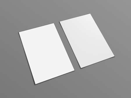 Two Blank Portrait A4 White Paper Isolated On Gray