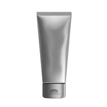 3D Silver Foil Tube Squeezed Packaging Mockup