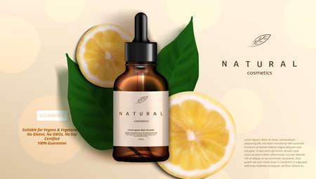 Natural Beauty Skincare Oil Vitamin C Sliced Lemon Иллюстрация