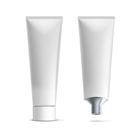 White Clear Tube For Tooth Paste, Gel, Paint, Glue Vektorové ilustrace