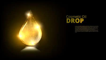 Realistic Gold Glass Drop Of Cosmetic Oil Иллюстрация