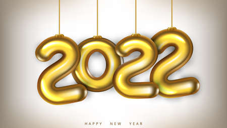 3D Gold 2022 Numbers New Year Greeting Card