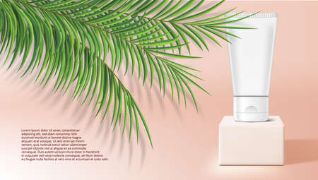 3D Cream Tube On White Stage With Tropical Plants Vettoriali