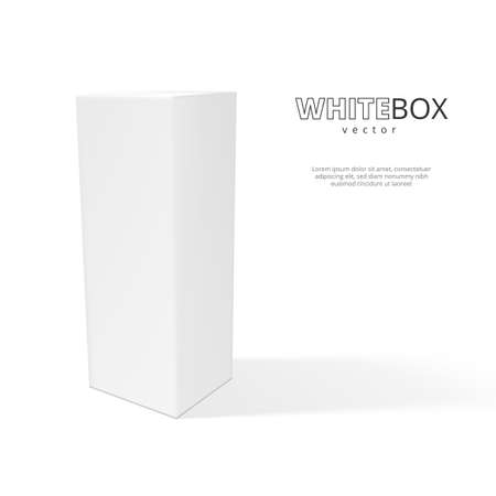 3D White Box With Shadow Isolated On Background