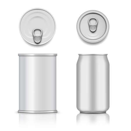 Tin Can With Pull Ring. Side, Top View