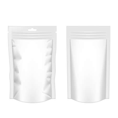 White Pouch Foil Plastic Packaging With Zipper