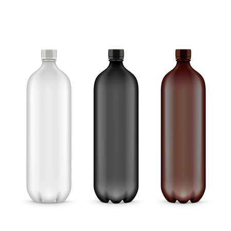 White, Black And Brown Plastic PET Bottle Vektoros illusztráció