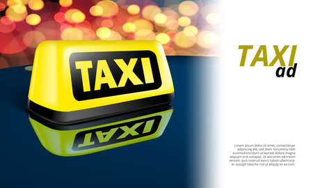 Yellow Glowing Taxi Automobile Sign On Night Car Vettoriali