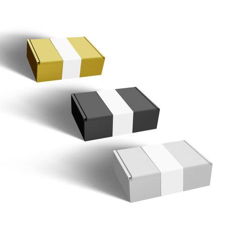 White, Black And Gold Cardboard Box Paper Label Vettoriali