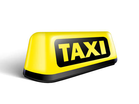 Yellow Glowing Taxi Automobile Sign With Shadow Vettoriali