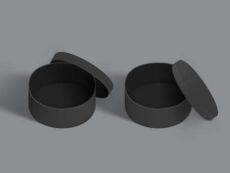 3D Two Black Round Paper Boxes Isolated On White Background. 矢量图像