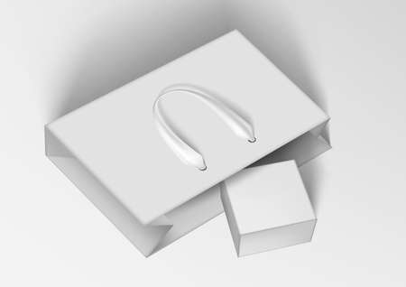 White Paper Shopping Bag With Gift Box In It