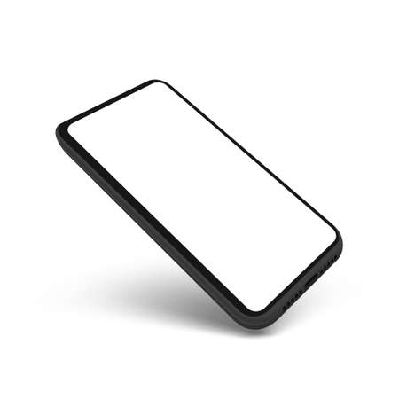 3D Flying Clear Smartphone With Blank White Screen. 矢量图像