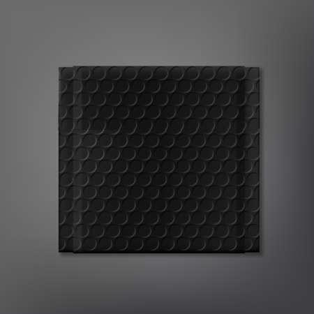 Black Bubble Soft Packet On Dark Background.
