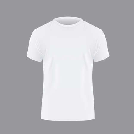 Realistic Mens White T-shirt With Short Sleeve