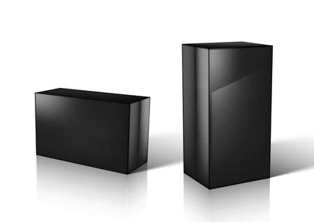 3D Black Glossy Box For Jewelry Or Small Gift.