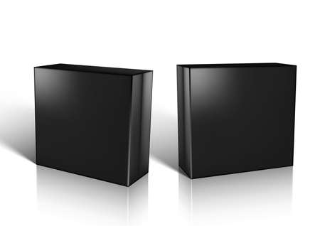 3D Black Glossy Box For Jewelry Or Small Gift 矢量图像