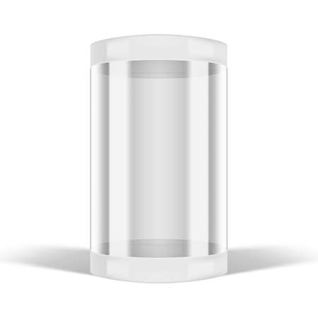 3D Round Transparent Glass Showcase Box On White