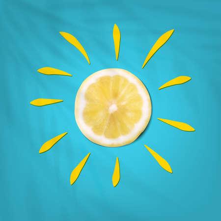 Summer Lemon In Sun Shape On Blue Background Иллюстрация