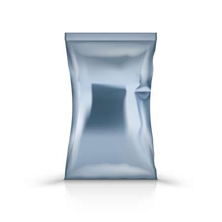 3D Empty Vertical Sealed Plastic Foil Bag Иллюстрация