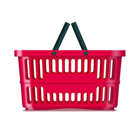 3D Red Plastic Supermarket Basket On White Иллюстрация