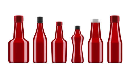 Barbecue Sauces Or Ketchup In Glass Bottles