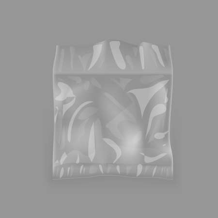 Glossy Plastic Package Bag On Gray Back