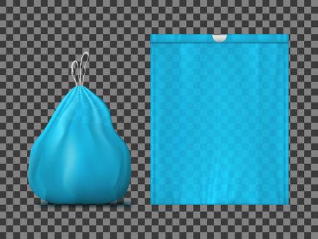 3D Plastic Flat And Full Trash Bag Vettoriali