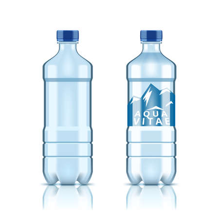 3D Plastic Clear Water Bottle With And Without Label On White Background.