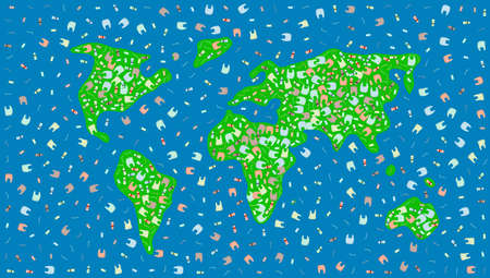 World Of Plastic Concept. Garbage In The Silhouette Of World Map.