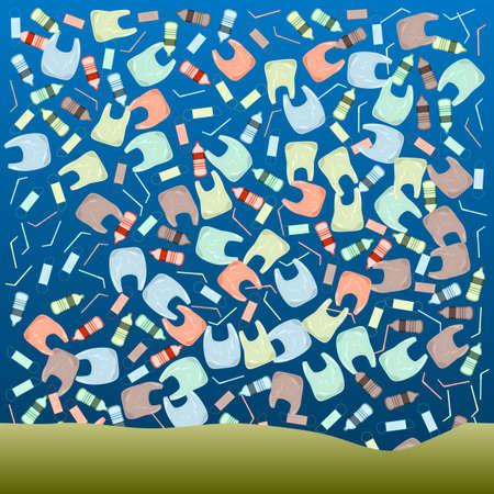 Ocean Pollution. Plastic Bottles, Bag, Mask, Jars Vettoriali