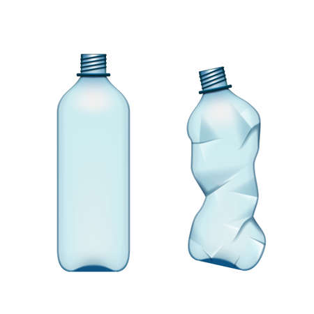 Empty Used Normal And Crumpled Plastic Bottle