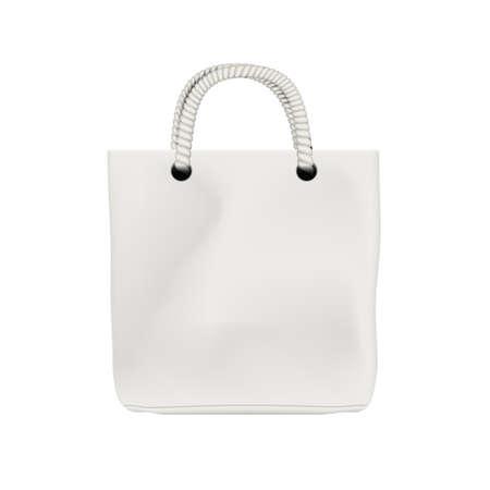 Blank White Fabric Bag Isolated On White Back