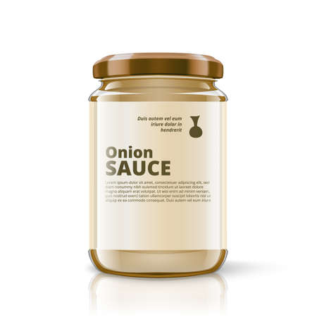 3D Glass Jar Of Onion Sauce With Label