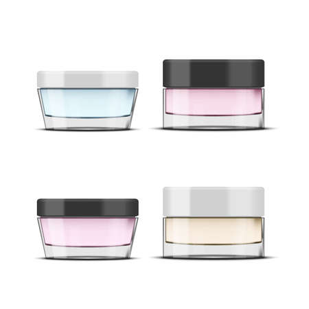 Round Glossy Glass Cosmetic Jar. Makeup Product Package.