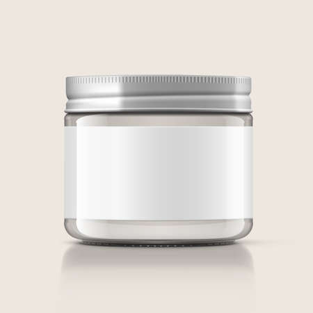 Glass Jar Packaging With Metal Lid And White Label