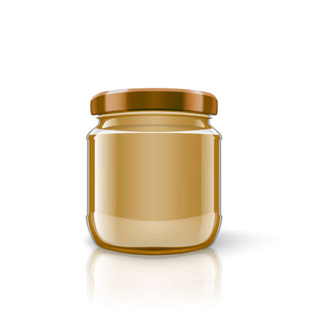 Glass Jar Of Peanut Butter On White Background 矢量图像