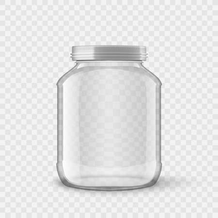 Big Glossy Glass Jar With White Lids 矢量图像