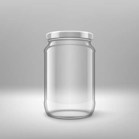 Big Glossy Transparent Glass Jar With White Lid.