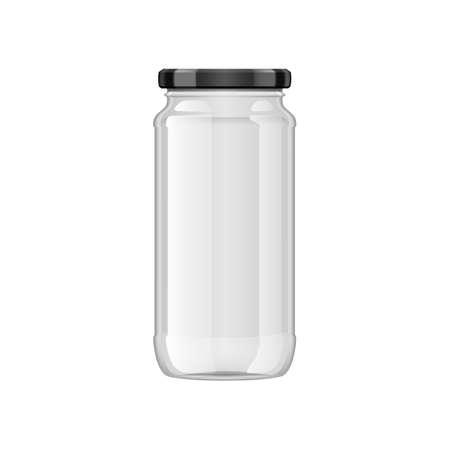 3D Empty Glass Jar On White Background