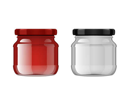 Empty And Full Of Tomato Sauce Glass Jar On White