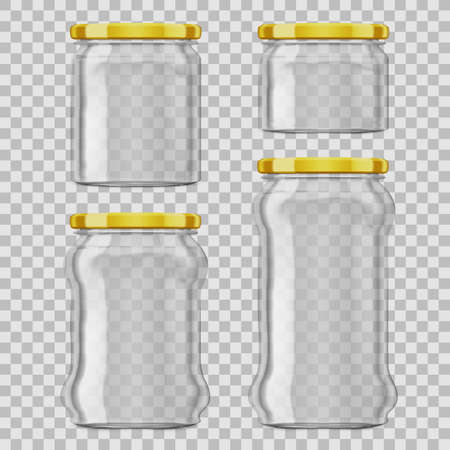 Glass Jars For Canning, Preserving With Golden Lid