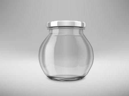Sphere Glossy Glass Jar With White Lids 矢量图像