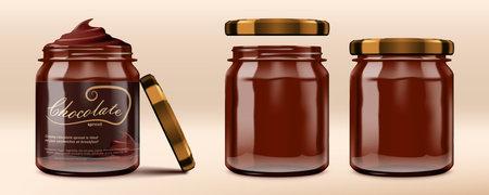 3D Glossy Chocolate Spread Paste Jars Set.