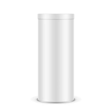 White Paper Chips Tube With Plastic Lid
