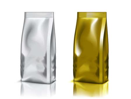 Aluminium Foil Bag Packaging Isolated On White Vettoriali