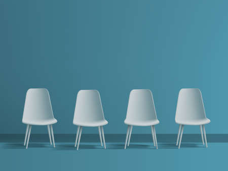 3D Modern White Office Chairs In Blue Room Vettoriali