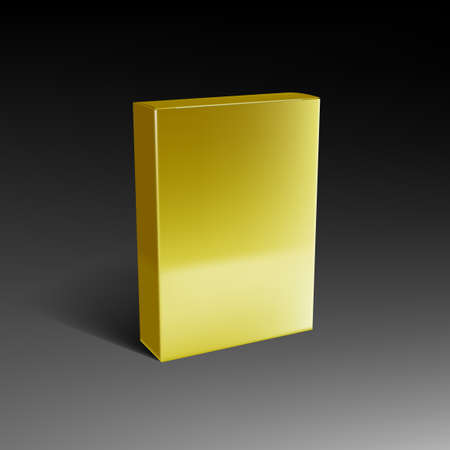 3D Golden Box Mock Up Packiging With Shadow Vettoriali